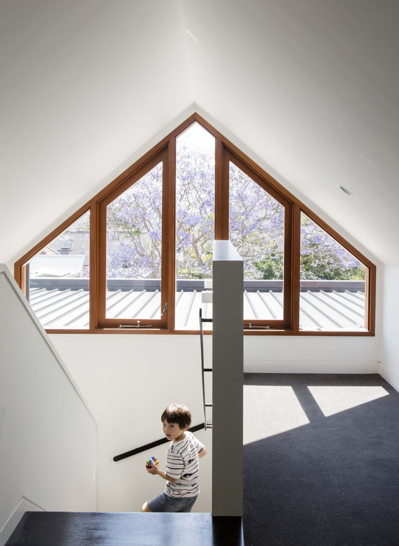 Sung Dobson house by Sam Crawford Architects, Sydney. Natural light in upstairs area.