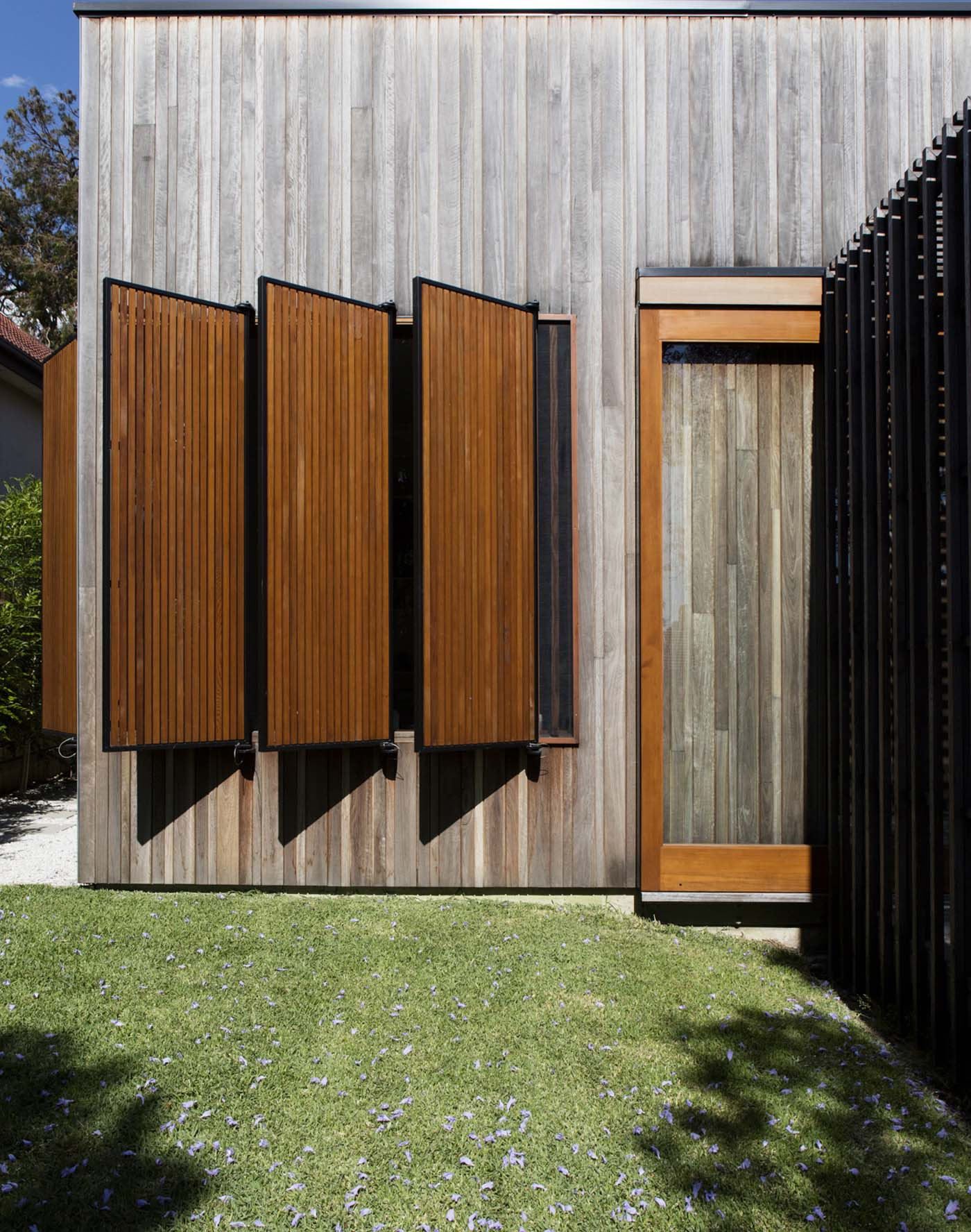 Sung Dobson house by Sam Crawford Architects, Sydney. Timber shutters.