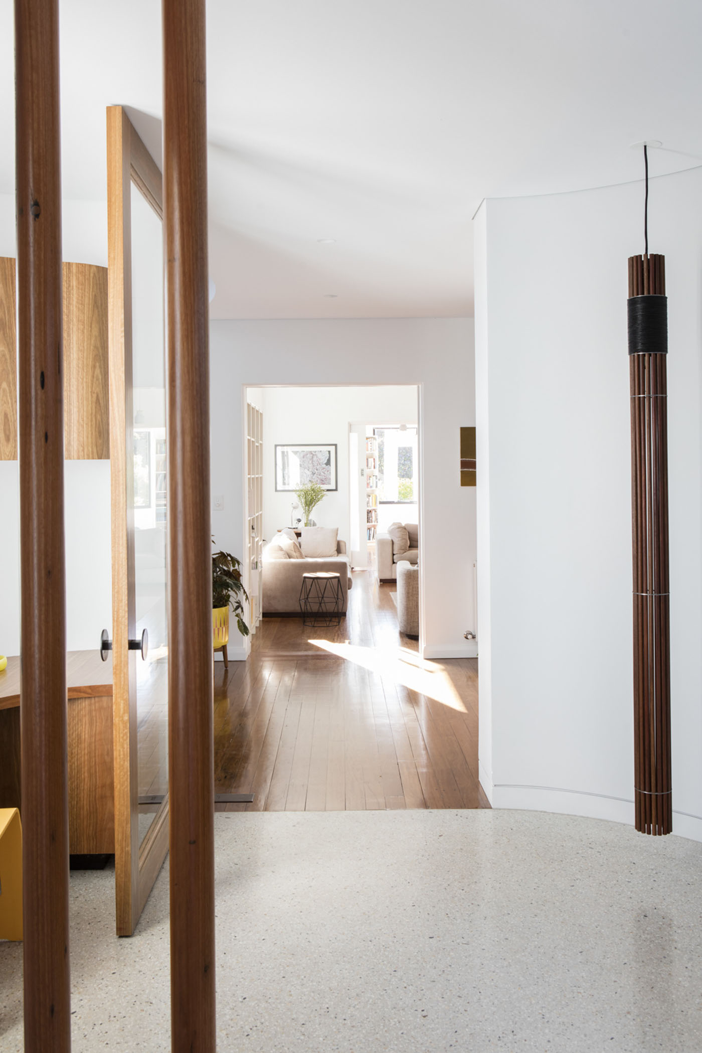 Conway Atkins House in Dover Heights by Sydney architect Sam Crawford Architect. Custom lighting has been designed to fit into the house's design.
