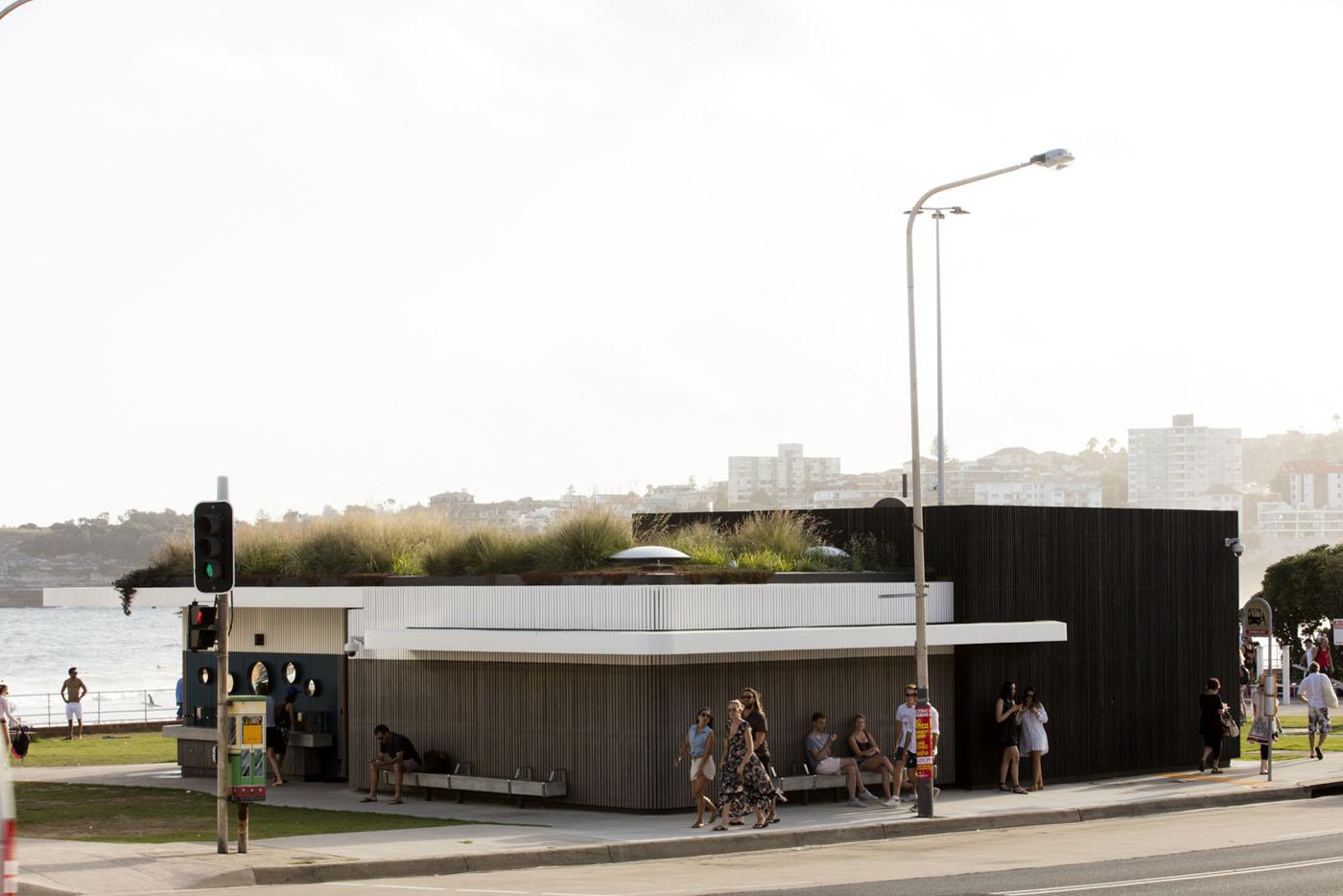 North Bondi Amenities, a public project by award winning Sam Crawford Architects. View of a beautiful toilet block.