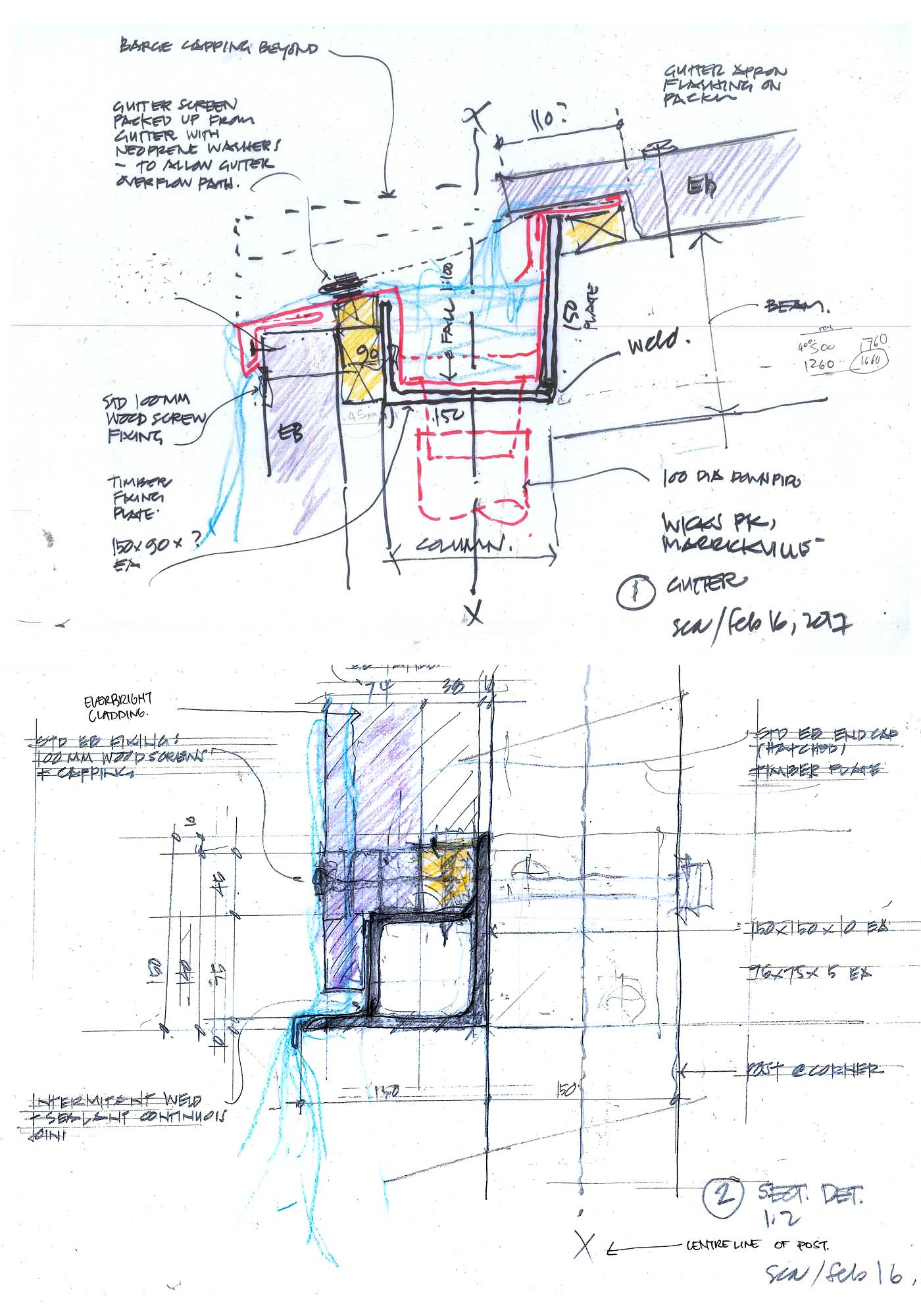 Wicks Park Amenities by award winning public architectural firm Sam Crawford Architects. Coloured hand sketch sectional details.