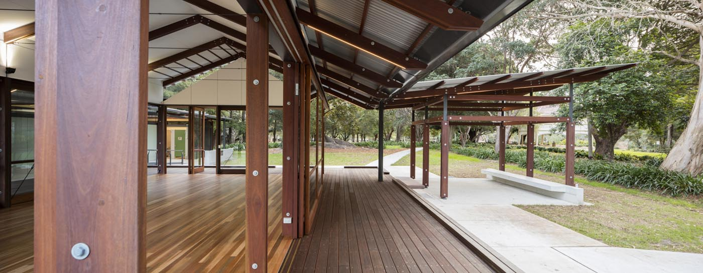 Cabarita Park Conservatory by award winning public architectural firm Sam Crawford Architects. Timber beams, column and floorboards provide a sense of warmth and rhythm