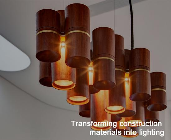 Transforming construction materials into lighting